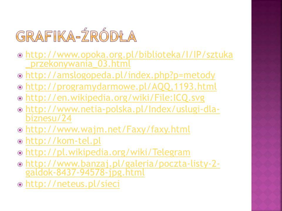 GRAfika-źródła http://www.opoka.org.pl/biblioteka/I/IP/sztuka _przekonywania_03.html. http://amslogopeda.pl/index.php p=metody.