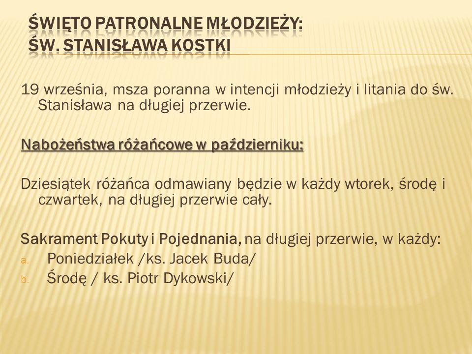 Święto patronalne młodzieży: św. Stanisława Kostki