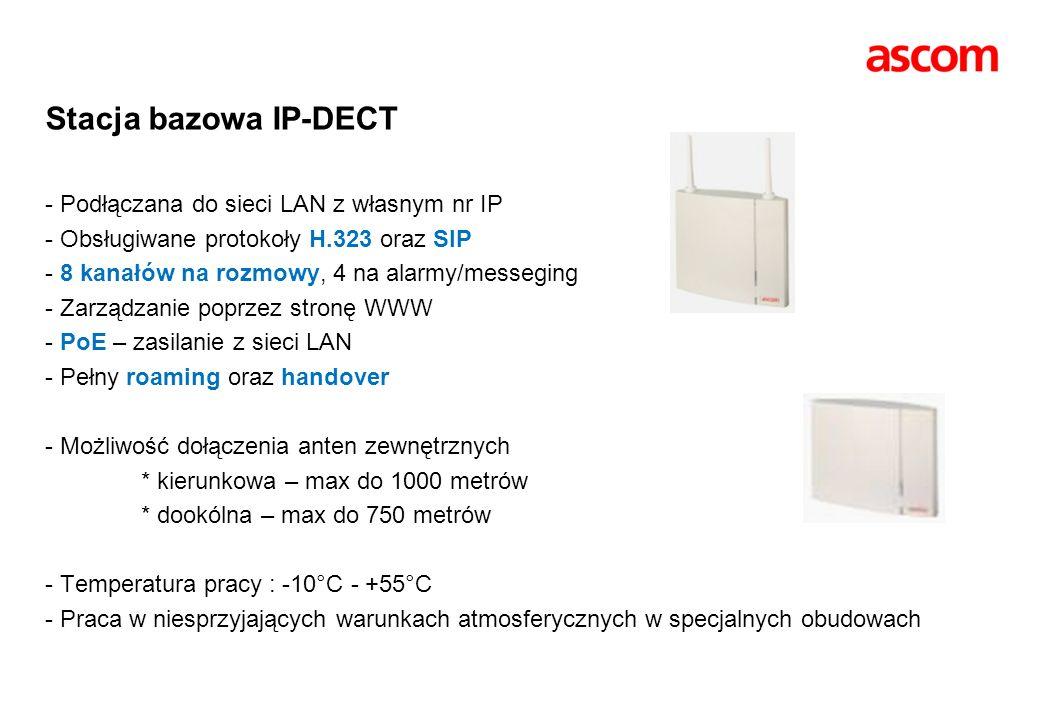 Stacja bazowa IP-DECT - Podłączana do sieci LAN z własnym nr IP - Obsługiwane protokoły H.323 oraz SIP - 8 kanałów na rozmowy, 4 na alarmy/messeging - Zarządzanie poprzez stronę WWW - PoE – zasilanie z sieci LAN - Pełny roaming oraz handover - Możliwość dołączenia anten zewnętrznych * kierunkowa – max do 1000 metrów * dookólna – max do 750 metrów - Temperatura pracy : -10°C - +55°C - Praca w niesprzyjających warunkach atmosferycznych w specjalnych obudowach
