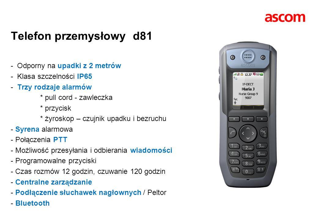 Telefon przemysłowy d81 - Odporny na upadki z 2 metrów - Klasa szczelności IP65 - Trzy rodzaje alarmów * pull cord - zawleczka * przycisk * żyroskop – czujnik upadku i bezruchu - Syrena alarmowa - Połączenia PTT - Możliwość przesyłania i odbierania wiadomości - Programowalne przyciski - Czas rozmów 12 godzin, czuwanie 120 godzin - Centralne zarządzanie - Podłączenie słuchawek nagłownych / Peltor - Bluetooth