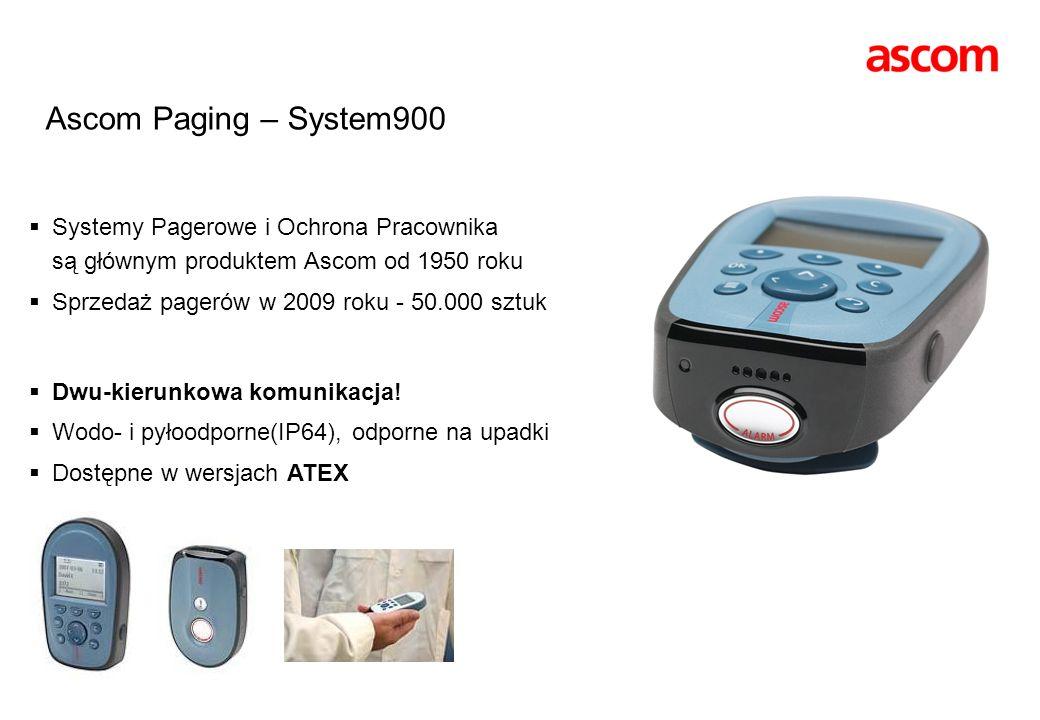 Ascom Paging – System900Systemy Pagerowe i Ochrona Pracownika są głównym produktem Ascom od 1950 roku.