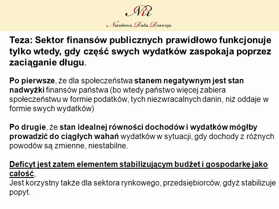 Teza: Sektor finansów publicznych prawidłowo funkcjonuje tylko wtedy, gdy część swych wydatków zaspokaja poprzez zaciąganie długu.