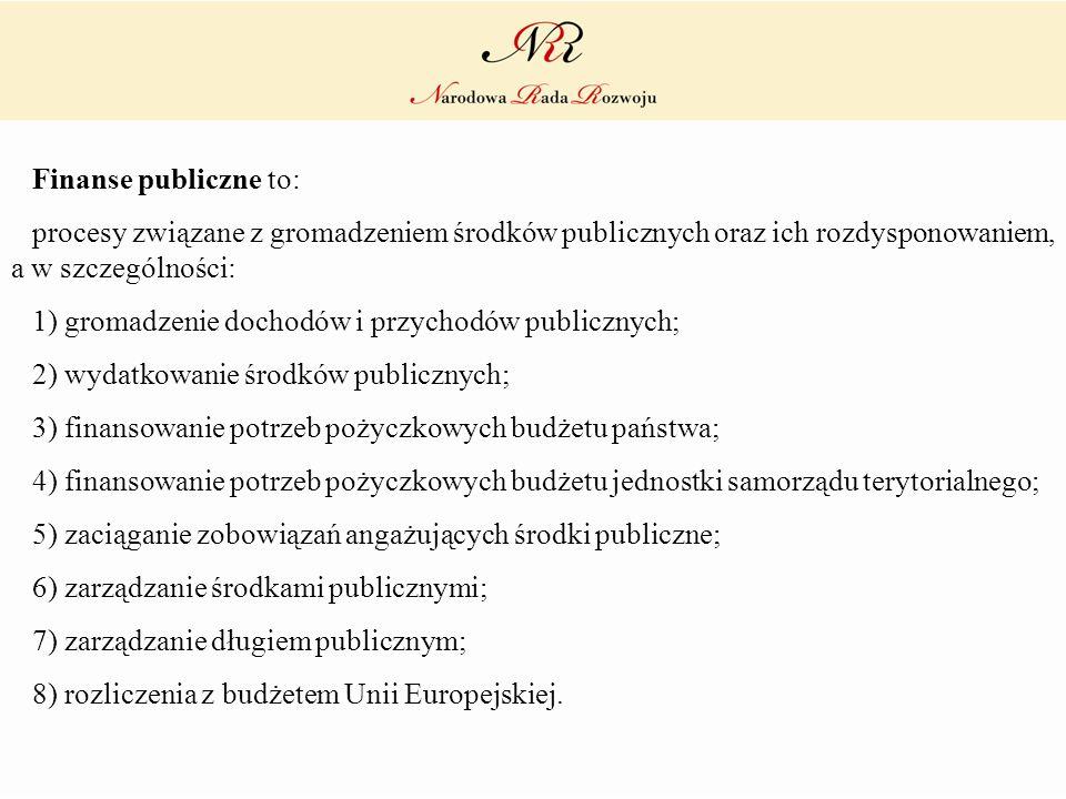 Finanse publiczne to:procesy związane z gromadzeniem środków publicznych oraz ich rozdysponowaniem, a w szczególności: