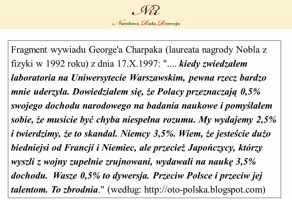 Fragment wywiadu George a Charpaka (laureata nagrody Nobla z fizyki w 1992 roku) z dnia 17.X.1997: ....