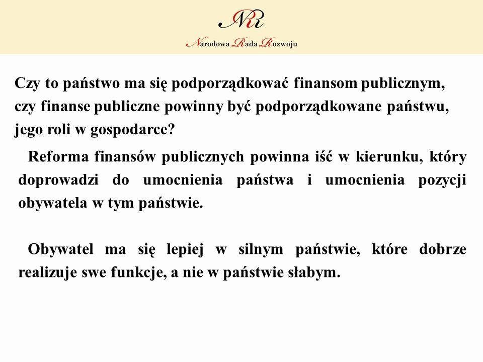 Czy to państwo ma się podporządkować finansom publicznym, czy finanse publiczne powinny być podporządkowane państwu, jego roli w gospodarce