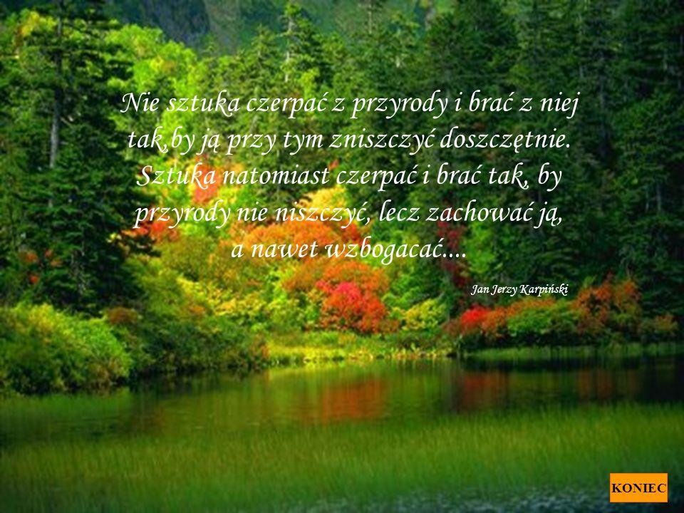 Nie sztuka czerpać z przyrody i brać z niej tak,by ją przy tym zniszczyć doszczętnie. Sztuka natomiast czerpać i brać tak, by przyrody nie niszczyć, lecz zachować ją, a nawet wzbogacać.... Jan Jerzy Karpiński