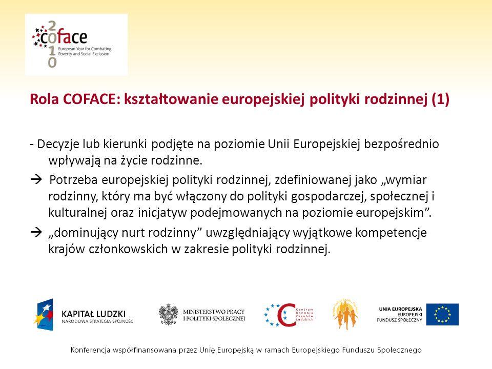 Rola COFACE: kształtowanie europejskiej polityki rodzinnej (1)