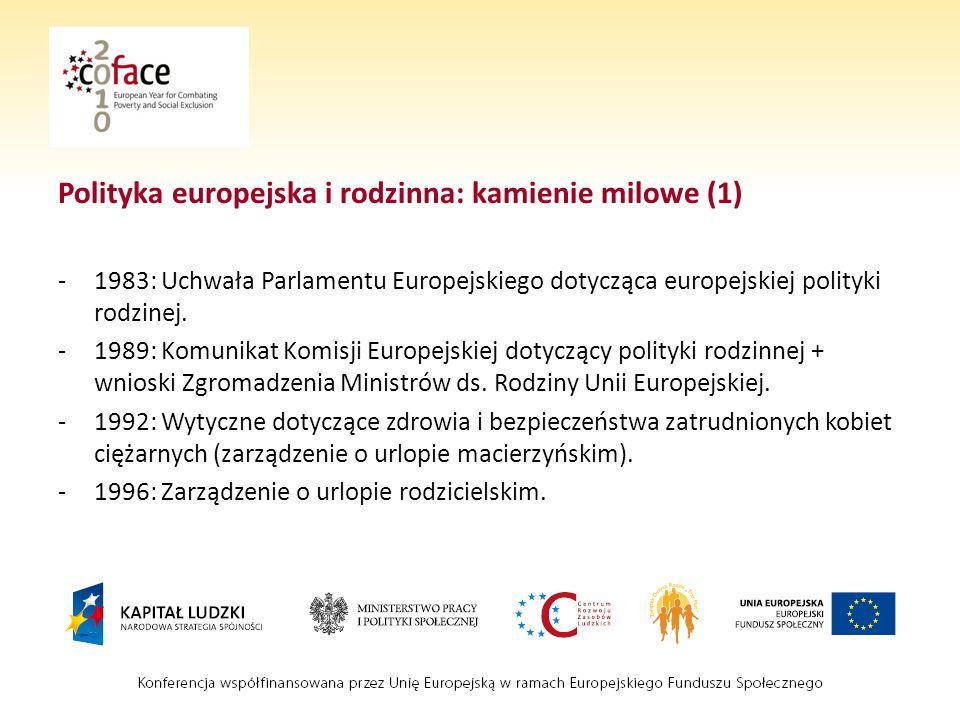 Polityka europejska i rodzinna: kamienie milowe (1)