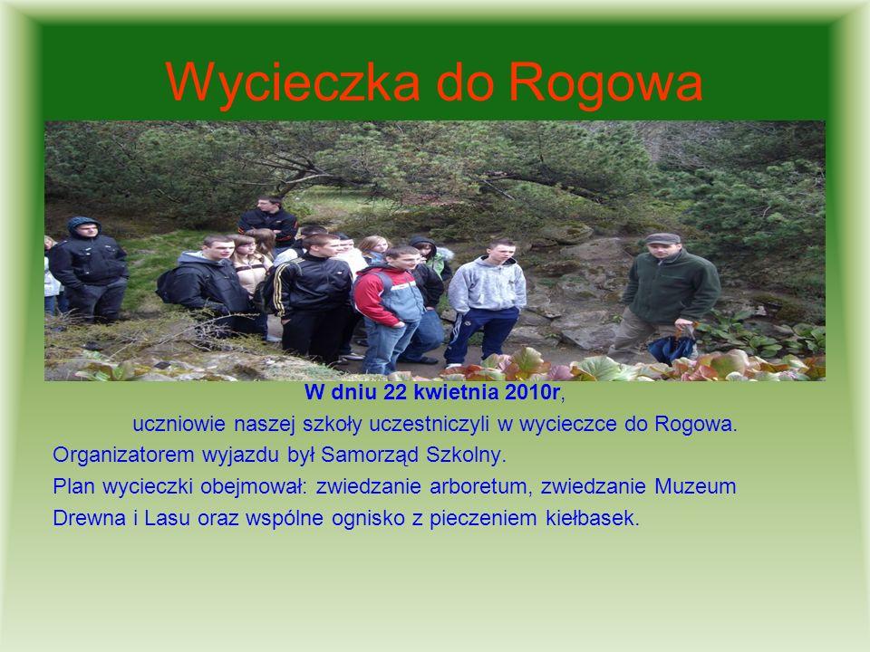 uczniowie naszej szkoły uczestniczyli w wycieczce do Rogowa.