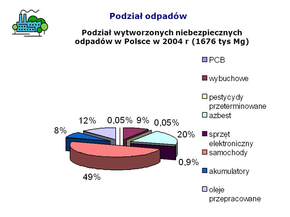 Podział odpadów Podział wytworzonych niebezpiecznych odpadów w Polsce w 2004 r (1676 tys Mg)