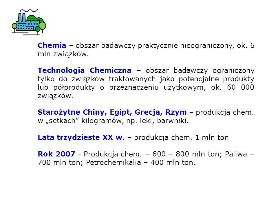 Chemia – obszar badawczy praktycznie nieograniczony, ok. 6 mln związków.