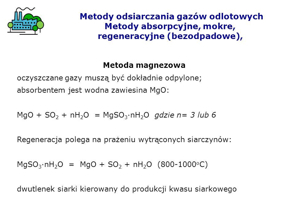 Metody odsiarczania gazów odlotowych Metody absorpcyjne, mokre,