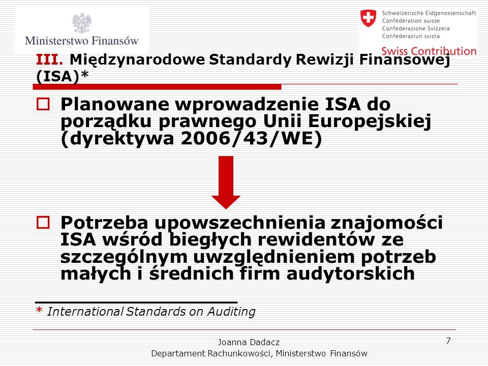 III. Międzynarodowe Standardy Rewizji Finansowej (ISA)*