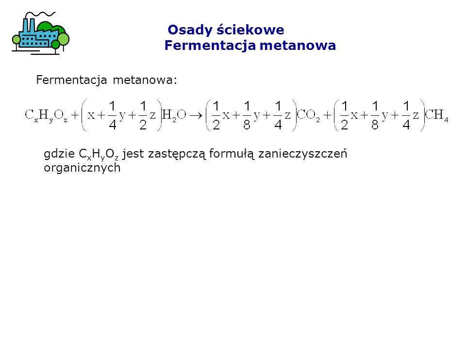 Osady ściekowe Fermentacja metanowa Fermentacja metanowa:
