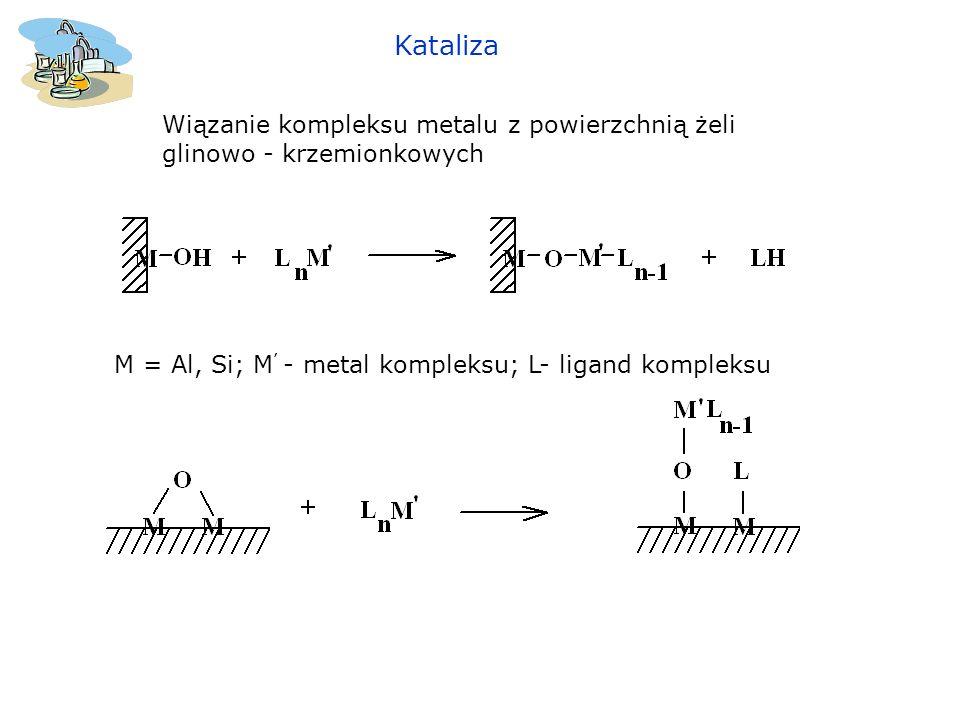 Kataliza Wiązanie kompleksu metalu z powierzchnią żeli glinowo - krzemionkowych.