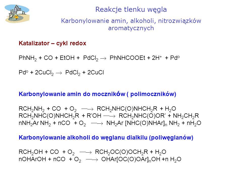 Karbonylowanie amin, alkoholi, nitrozwiązków aromatycznych