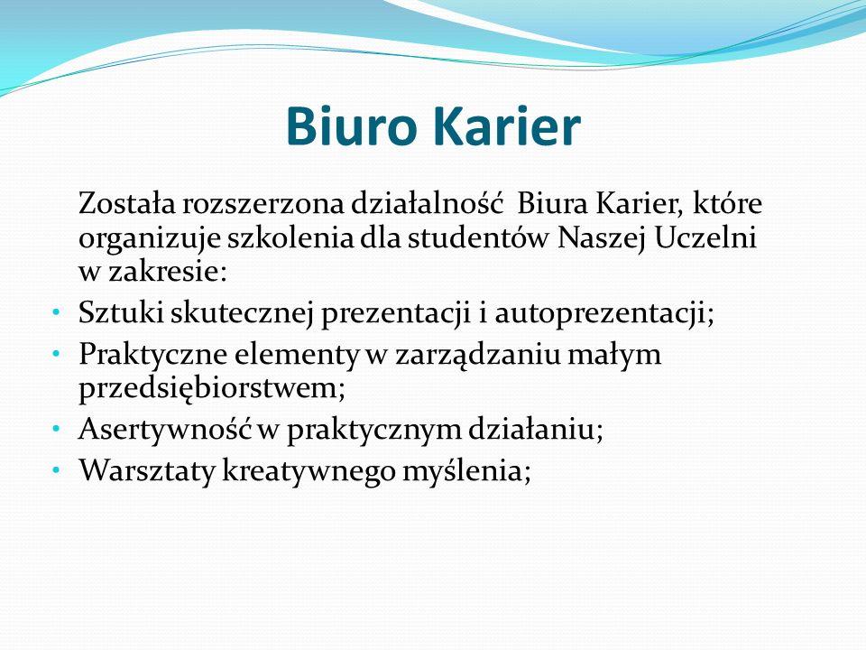 Biuro Karier Została rozszerzona działalność Biura Karier, które organizuje szkolenia dla studentów Naszej Uczelni w zakresie: