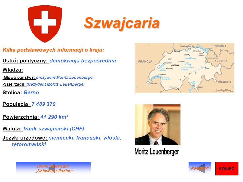 Szwajcaria Moritz Leuenberger Kilka podstawowych informacji o kraju: