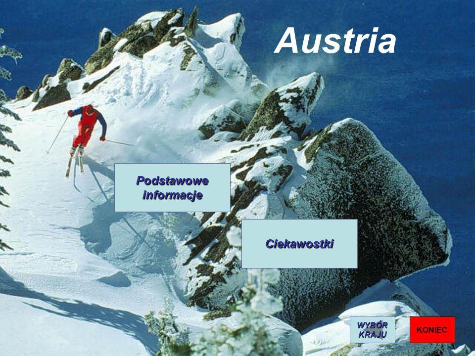 Austria Podstawowe informacje Ciekawostki WYBÓR KRAJU KONIEC