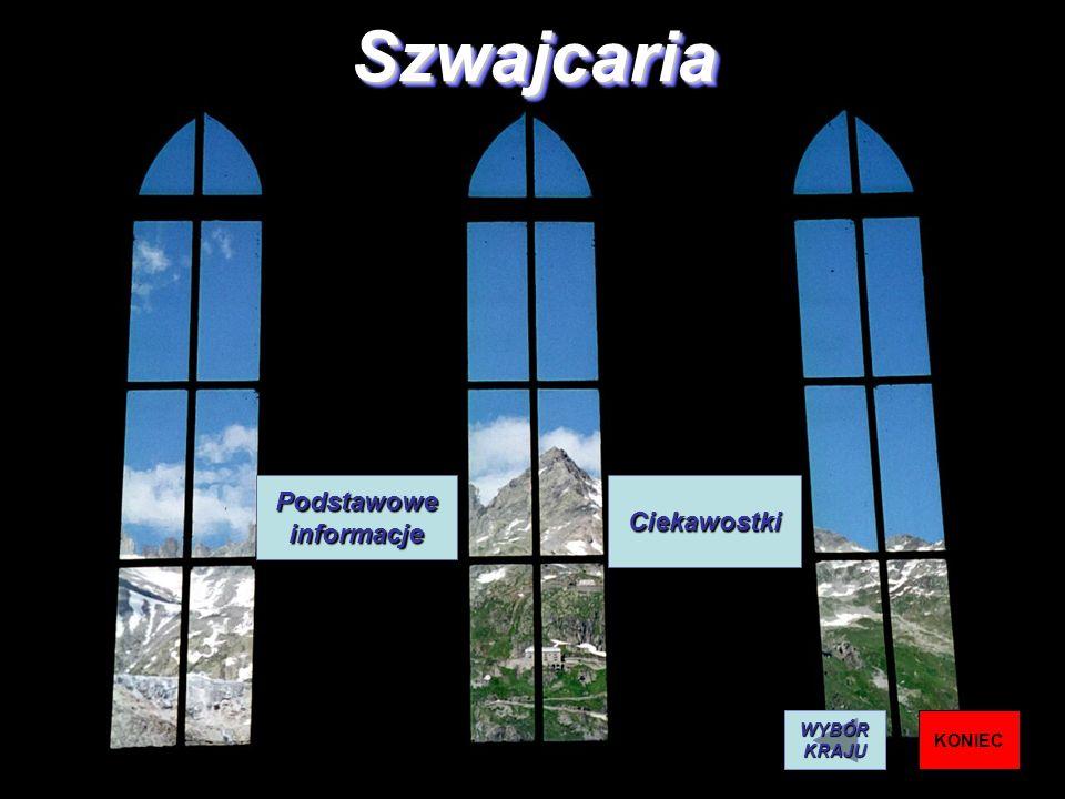Szwajcaria Podstawowe informacje Ciekawostki WYBÓR KRAJU KONIEC