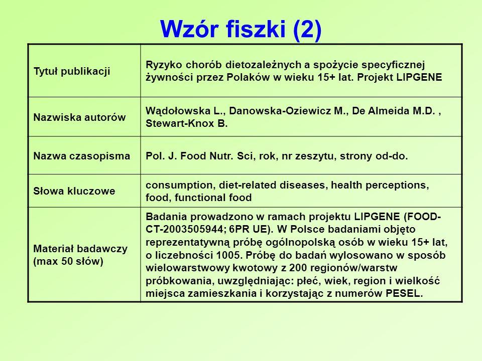 Wzór fiszki (2) Tytuł publikacji