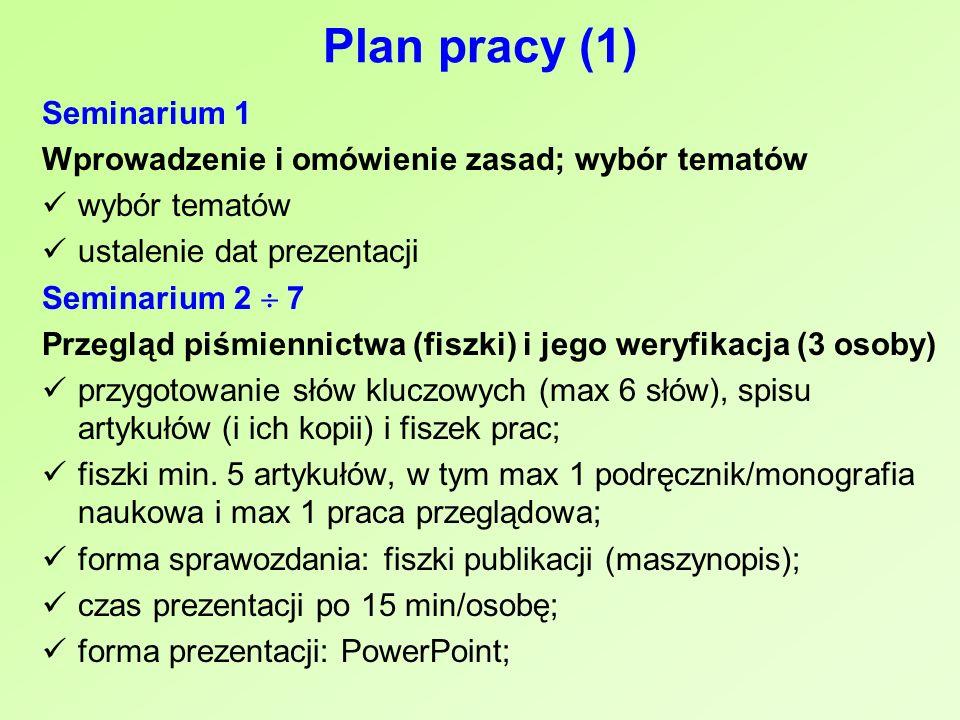 Plan pracy (1) Seminarium 1