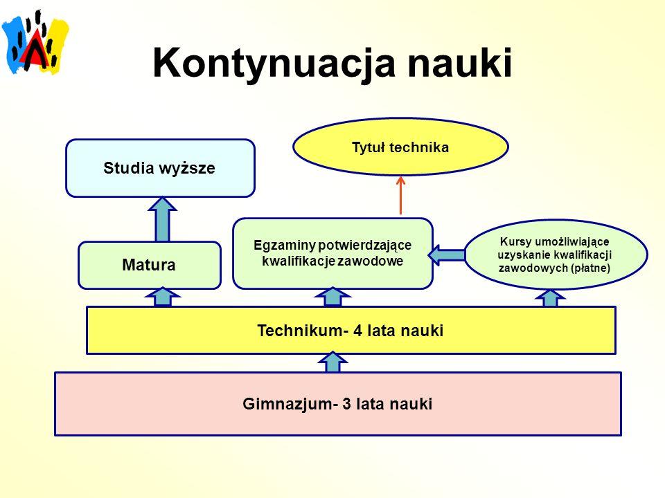 Kontynuacja nauki Studia wyższe Matura Technikum- 4 lata nauki