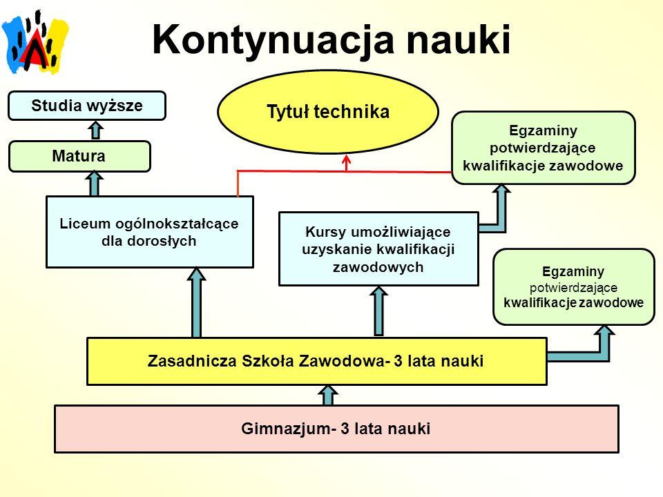 Kontynuacja nauki Tytuł technika Studia wyższe Matura
