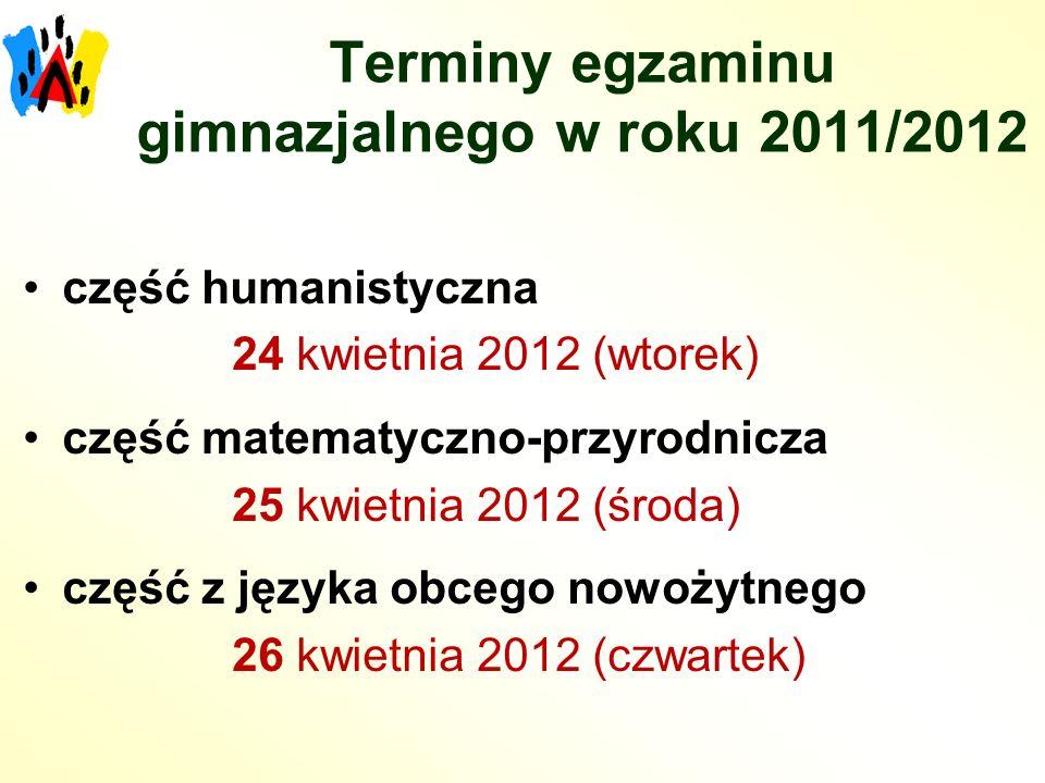 Terminy egzaminu gimnazjalnego w roku 2011/2012