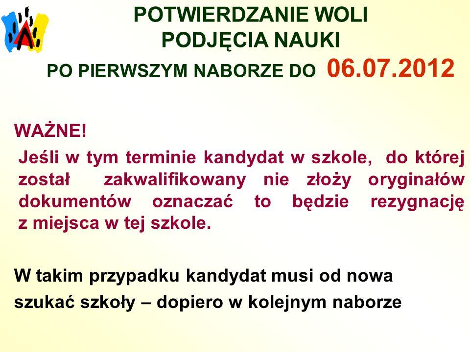 POTWIERDZANIE WOLI PODJĘCIA NAUKI PO PIERWSZYM NABORZE DO 06.07.2012