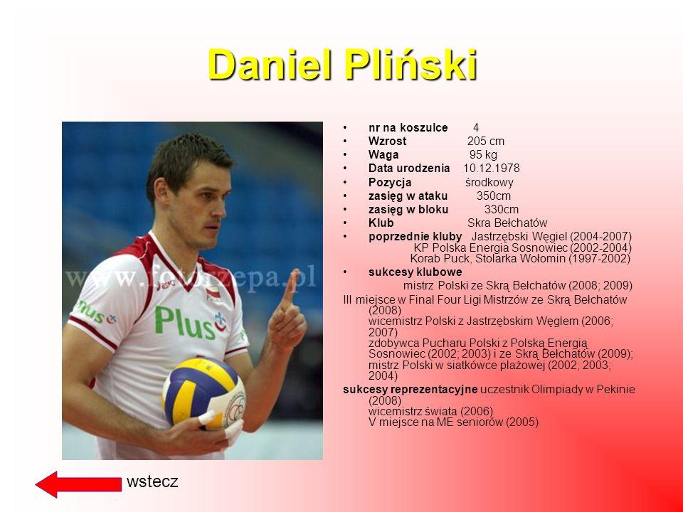 Daniel Pliński wstecz nr na koszulce 4 Wzrost 205 cm Waga 95 kg