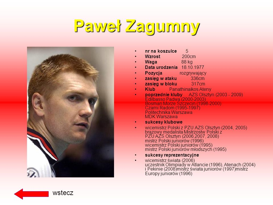 Paweł Zagumny wstecz nr na koszulce 5 Wzrost 200cm Waga 88 kg