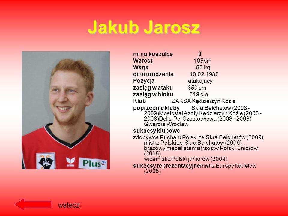 Jakub Jarosz wstecz nr na koszulce 8 Wzrost 195cm Waga 88 kg