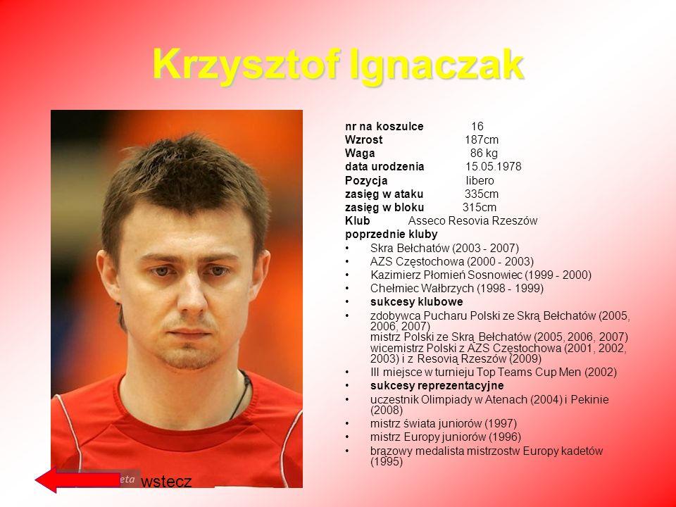 Krzysztof Ignaczak wstecz nr na koszulce 16 Wzrost 187cm Waga 86 kg