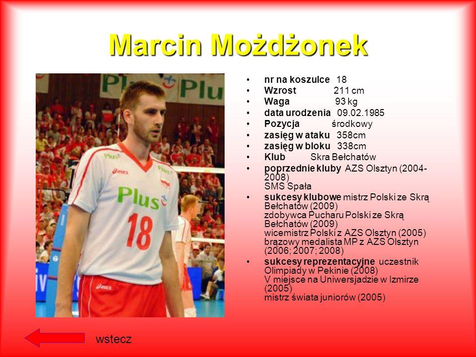 Marcin Możdżonek wstecz nr na koszulce 18 Wzrost 211 cm Waga 93 kg