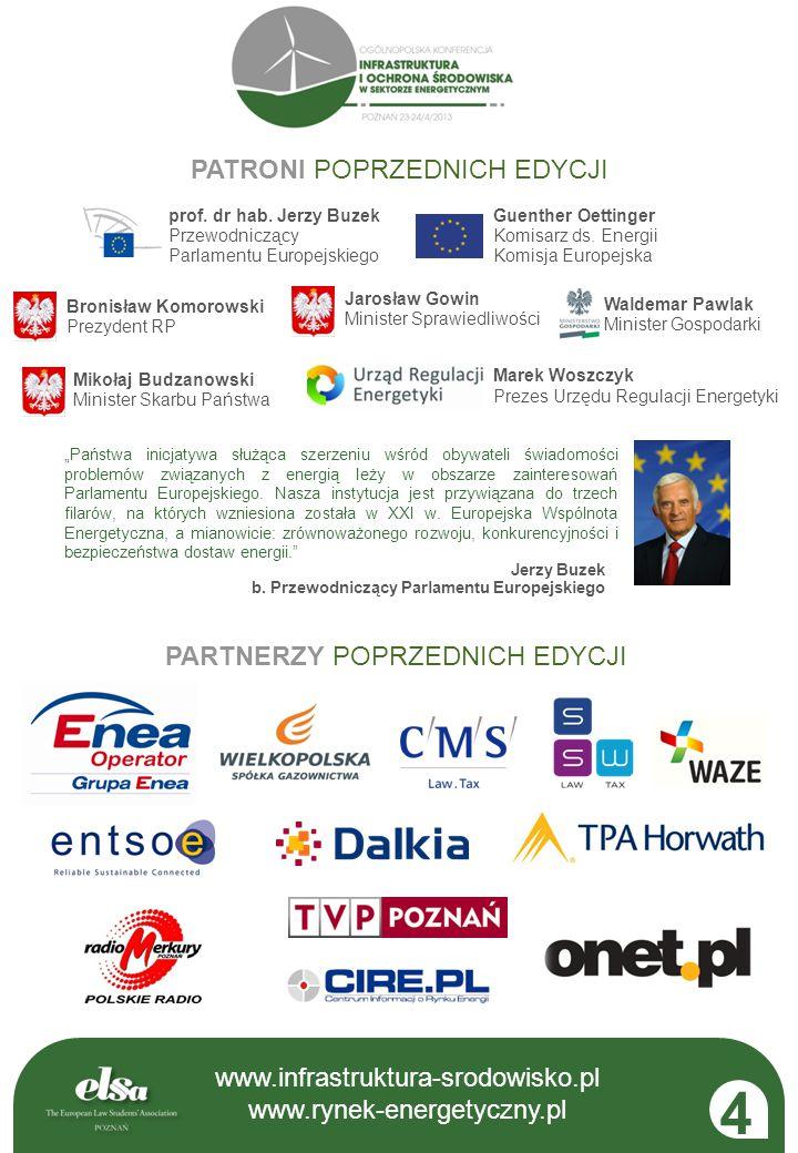 4 www.infrastruktura-srodowisko.pl PATRONI POPRZEDNICH EDYCJI