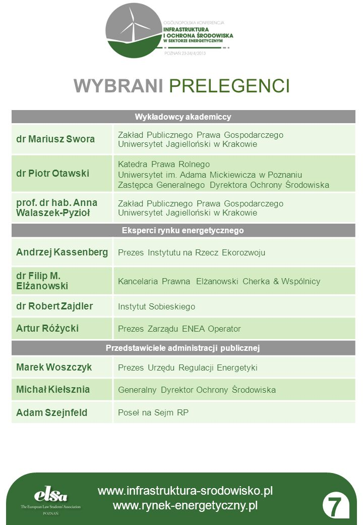 7 WYBRANI PRELEGENCI www.infrastruktura-srodowisko.pl