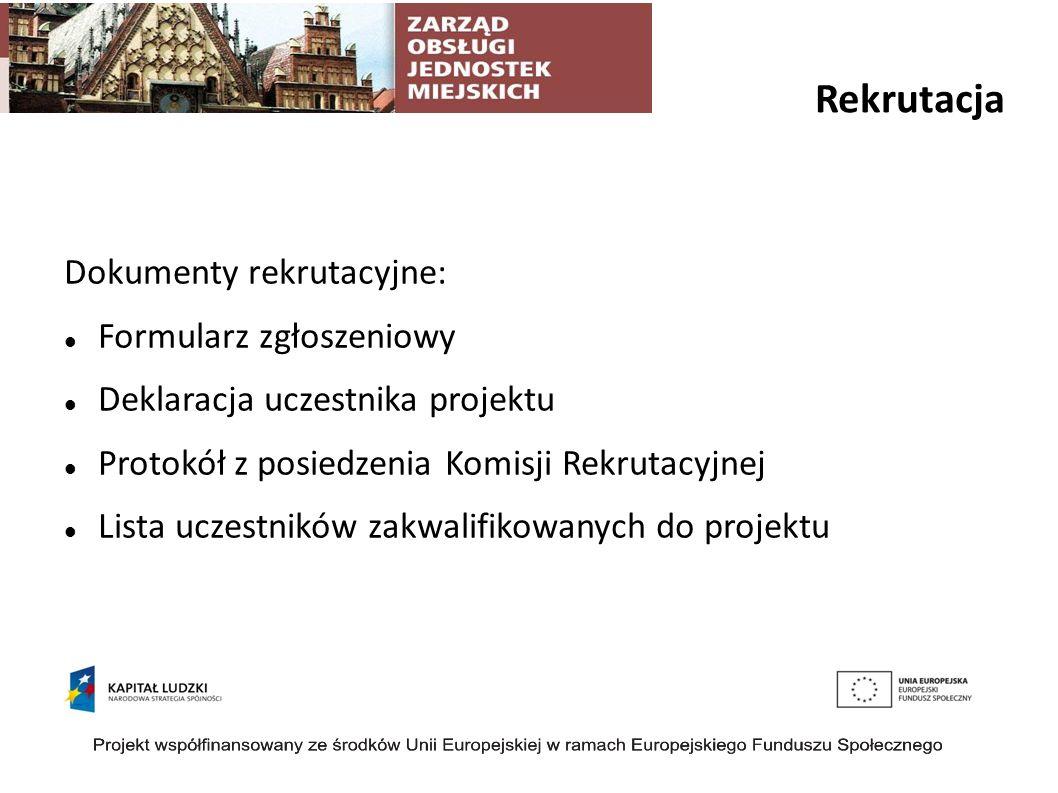 Rekrutacja Dokumenty rekrutacyjne: Formularz zgłoszeniowy