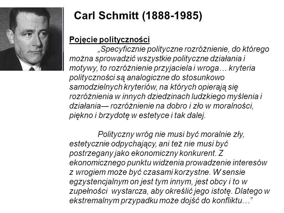 Carl Schmitt (1888-1985) Pojęcie polityczności