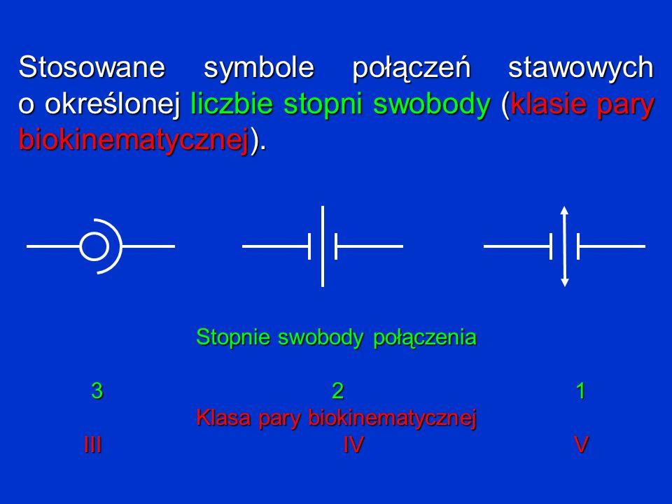 Stosowane symbole połączeń stawowych o określonej liczbie stopni swobody (klasie pary biokinematycznej).