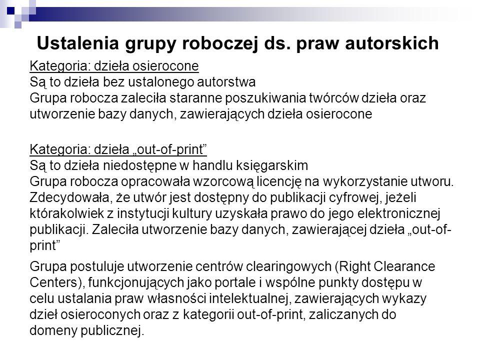 Ustalenia grupy roboczej ds. praw autorskich