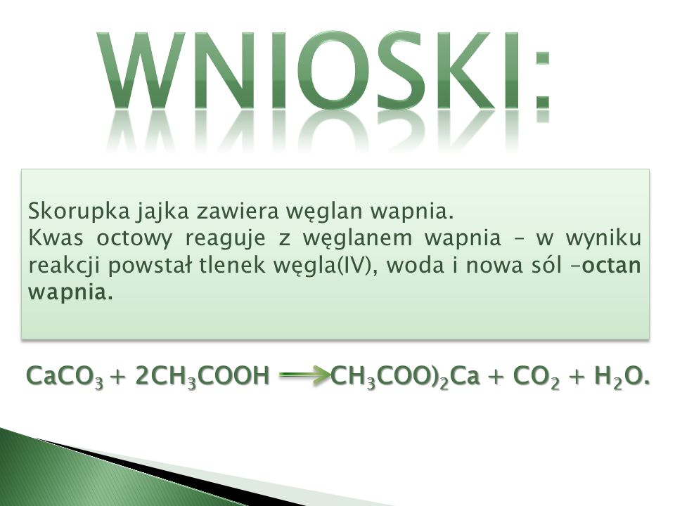 Wnioski: CaCO3 + 2CH3COOH CH3COO)2Ca + CO2 + H2O.
