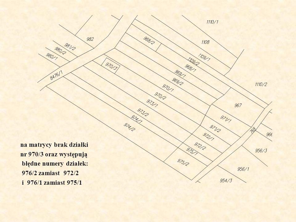 na matrycy brak działki nr 970/3 oraz występują błędne numery działek: 976/2 zamiast 972/2 i 976/1 zamiast 975/1