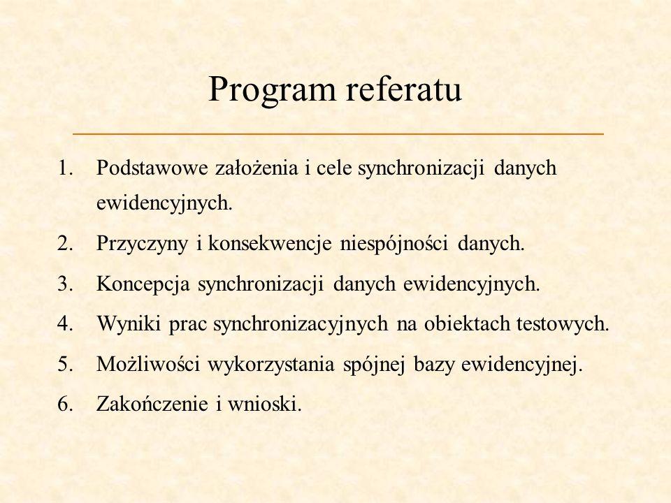 Program referatuPodstawowe założenia i cele synchronizacji danych ewidencyjnych. Przyczyny i konsekwencje niespójności danych.