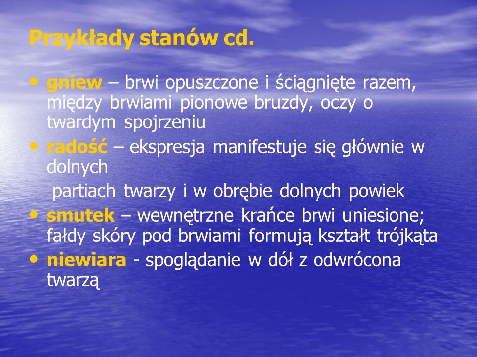 Przykłady stanów cd. gniew – brwi opuszczone i ściągnięte razem, między brwiami pionowe bruzdy, oczy o twardym spojrzeniu.