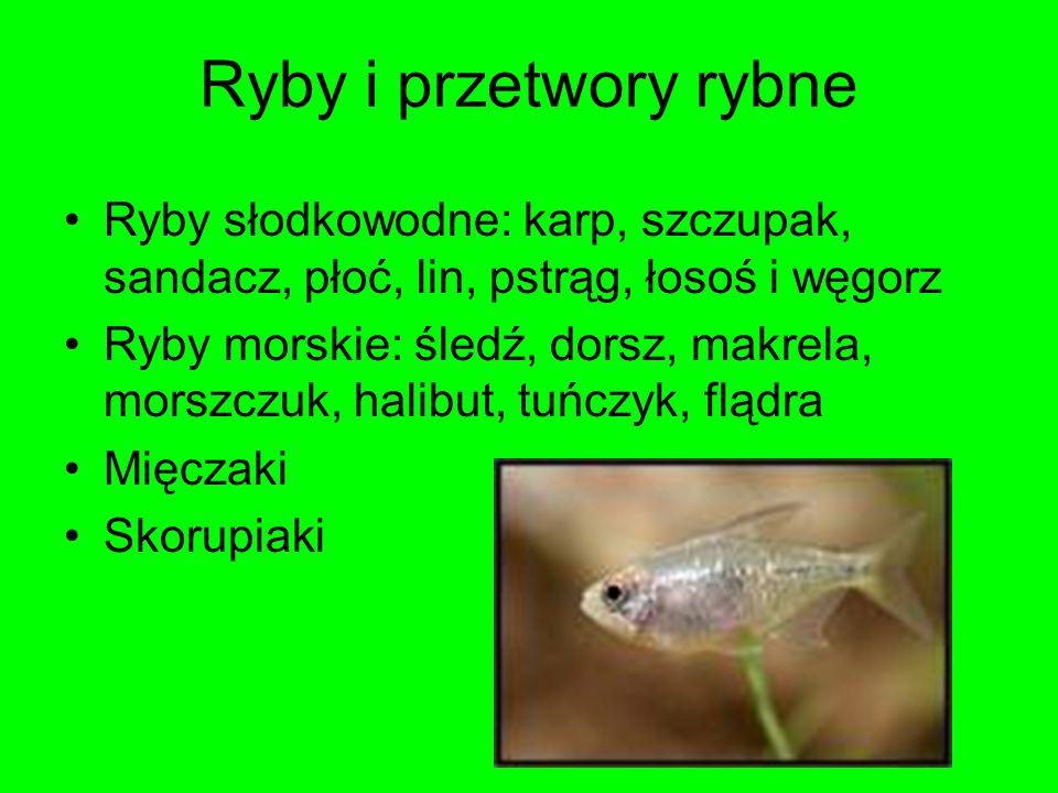 Ryby i przetwory rybneRyby słodkowodne: karp, szczupak, sandacz, płoć, lin, pstrąg, łosoś i węgorz.