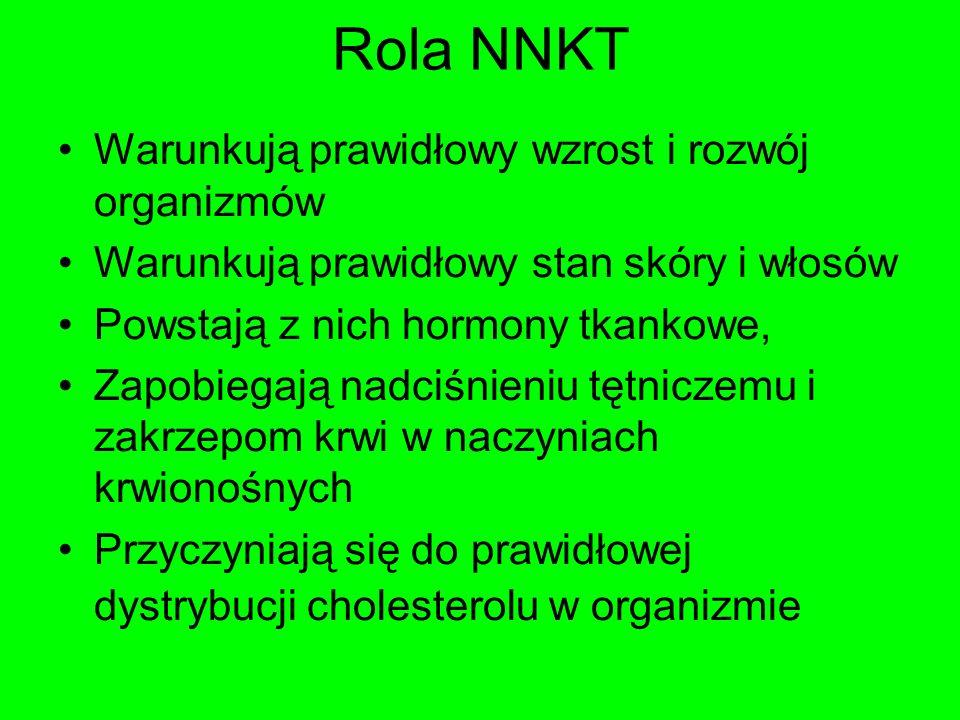 Rola NNKT Warunkują prawidłowy wzrost i rozwój organizmów