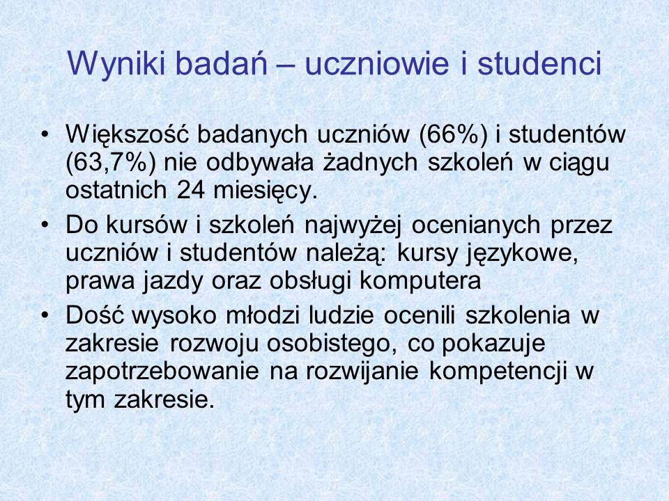 Wyniki badań – uczniowie i studenci