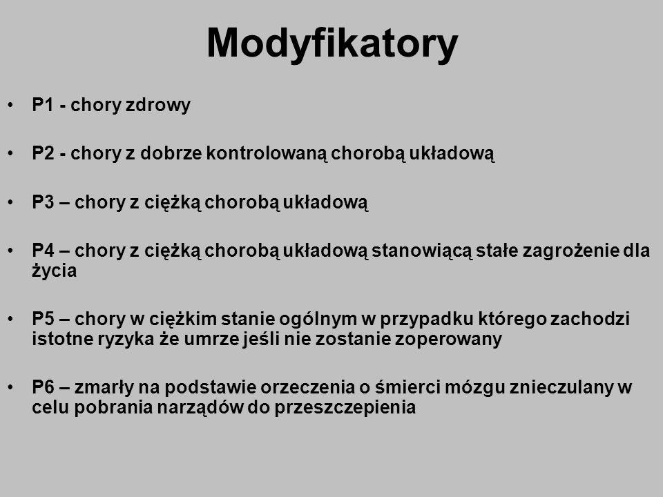 Modyfikatory P1 - chory zdrowy