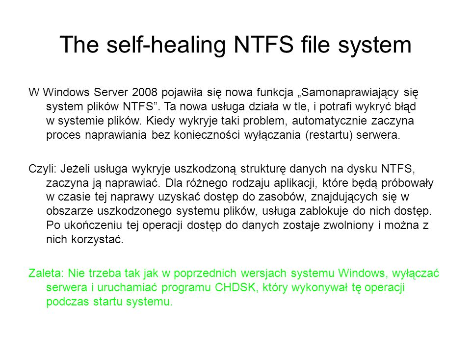 The self-healing NTFS file system